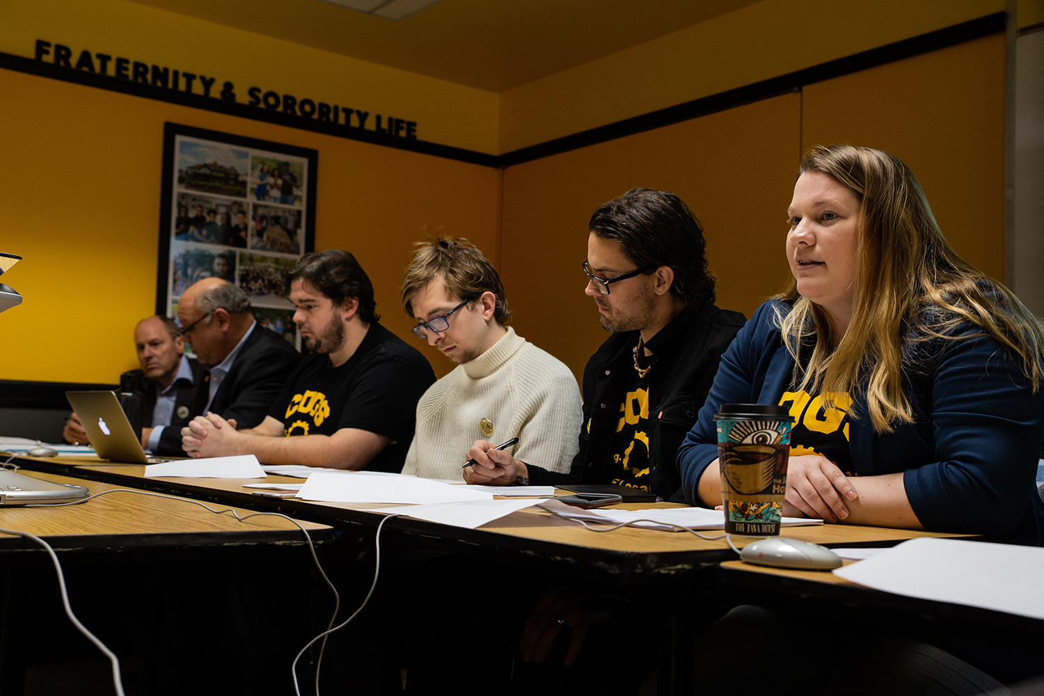 COGS members read their proposal to the Iowa Board of Regents Bargaining Committee during the COGS policy proposal meeting on Wednesday, November 28, 2018. The COGS policy proposal aims to solidify salaries, hours of work, benefits, and other terms and conditions for graduate students.