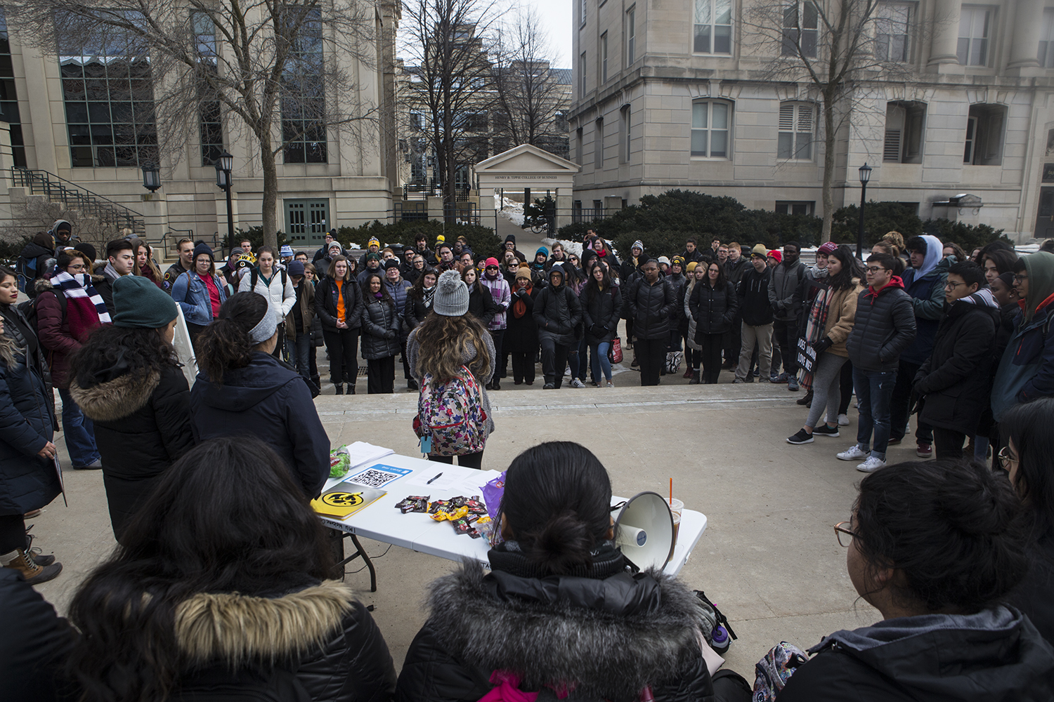 A student speaks during a rally for the #DoesUIowaLoveMe movement in the T. Anne Cleary Walkway on Thursday, February 28, 2019. Students, university faculty, and community members gathered to tell their stories about belonging to marginalized cultural groups. Does UIowa Love Me is a collective of students that aims to give underrepresented students an outlet to share their experiences as people of color at a predominantly white institution.