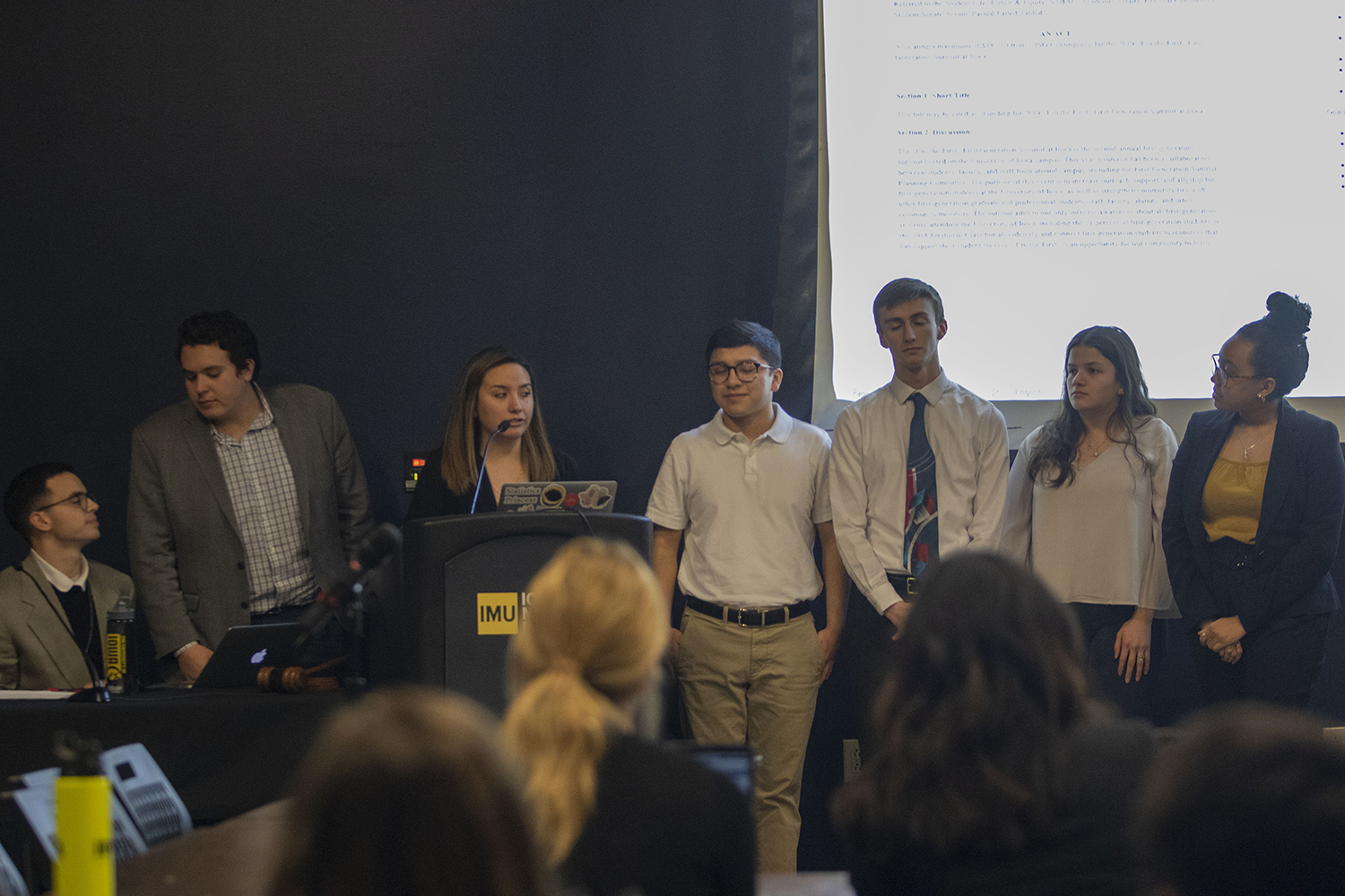 UISG Senator Alexia Sanchez (third from left) speaks during a UISG meeting in the IMU Black Box Theater on Tuesday, February 26, 2019.
