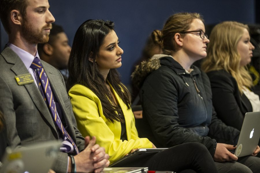 UISG+Hira+Mustafa+looks+on+during+discussion+of+a+potential+senate+override+to+her+veto+on+funding+for+the+First+Generation+Summit+at+the+Iowa+Memorial+Union+on+Tuesday%2C+February+19%2C+2019.+