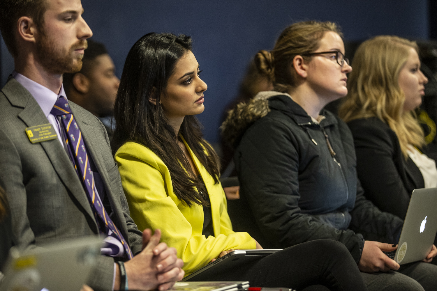 UISG Hira Mustafa looks on during discussion of a potential senate override to her veto on funding for the First Generation Summit at the Iowa Memorial Union on Tuesday, February 19, 2019.