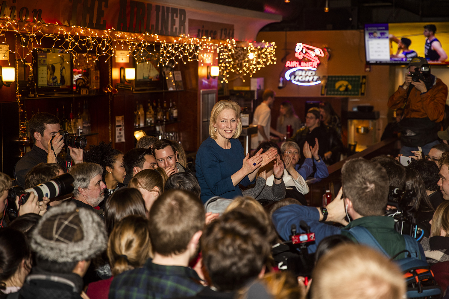 Sen. Kirsten Gillibrand, D-N.Y., engages with the crowd during her campaign stop at The Airliner on Monday, February 18, 2019. Gillibrand visited Cedar Rapids and Iowa City as she campaigns for the democratic nomination for the 2020 Presidential Election.