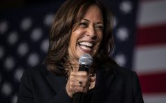 Sen Kamala Harris, D-Calif., speaks during a town hall at the Quad Cities Wavefront  Convention Center in Bettendorf, Iowa on  Sunday Feb. 24, 2019.
