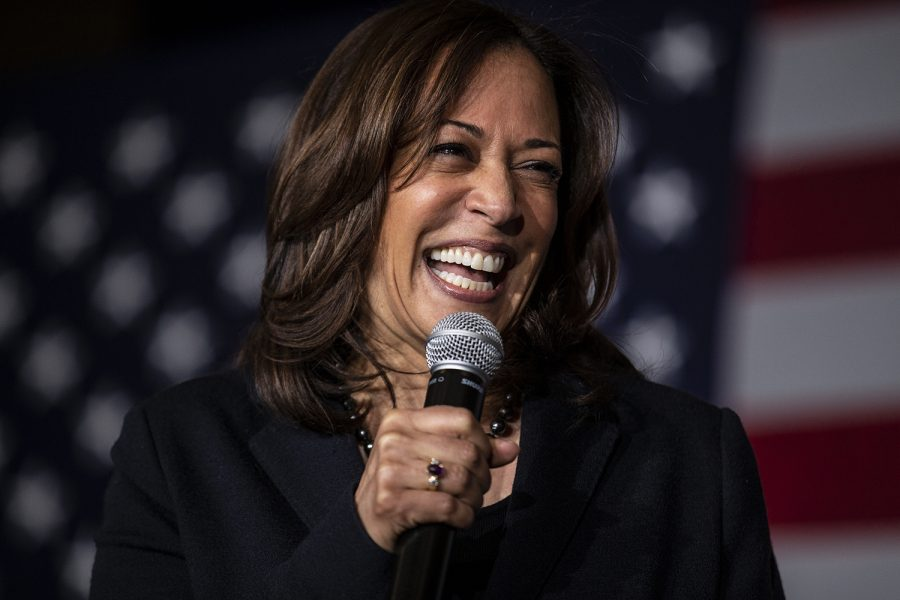 Sen+Kamala+Harris%2C+D-Calif.%2C+speaks+during+a+town+hall+at+the+Quad+Cities+Wavefront++Convention+Center+in+Bettendorf%2C+Iowa+on++Sunday+Feb.+24%2C+2019.