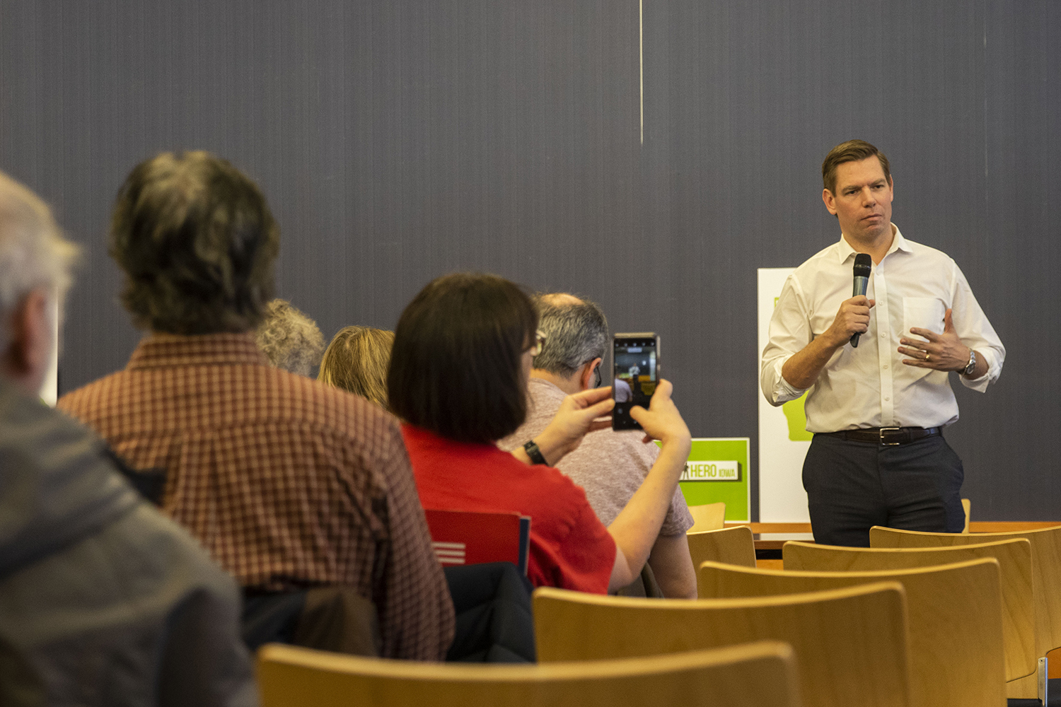 U.S. Rep. Eric Swalwell, D-Calif., speaks during an event at the Iowa City Public Library on Monday, February 18, 2019. Rep. Swalwell is expected to announce a candidacy for President of the United States.