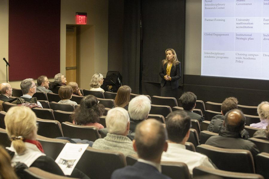 Montse Fuentes speaks during the provost forum on Thursday, February 7, 2019.