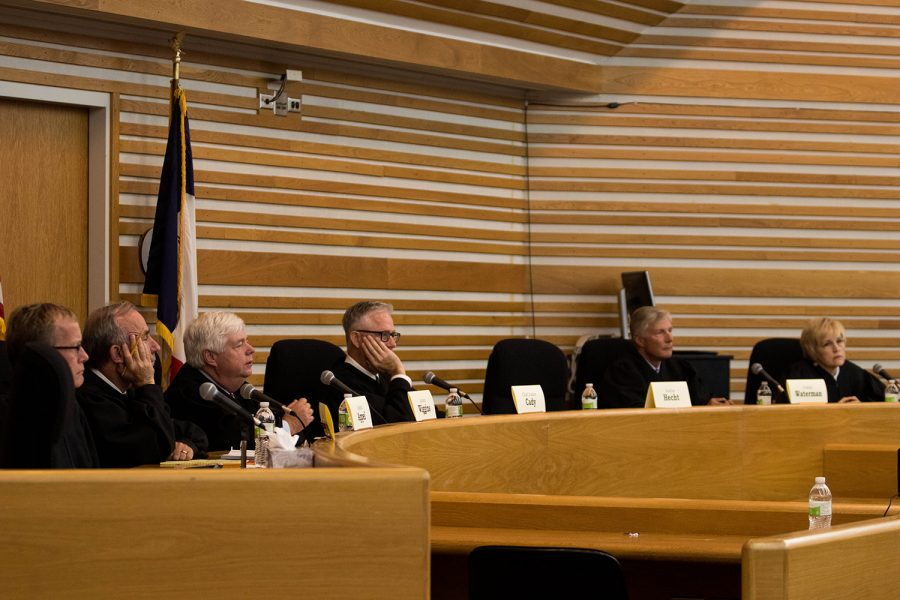 Iowa Supreme Court Justices listen to oral arguments and answer student questions during Supreme Court Day in the Boyd Law Building on Thursday, September 6, 2018.