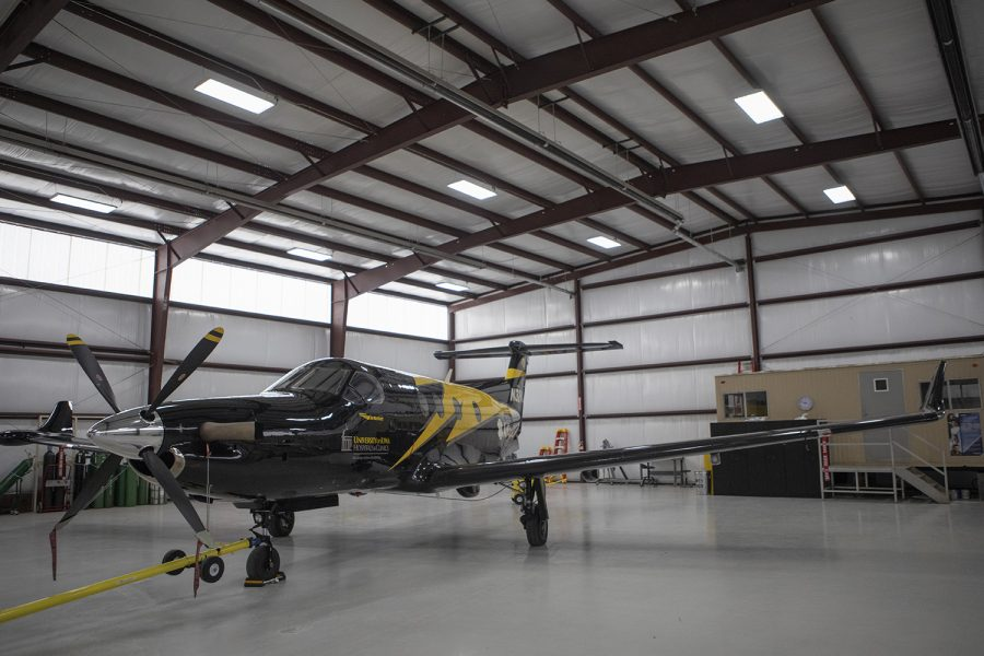 The+new+University+of+Iowa+Hospitals+AirCare+plane+rests+in+its+hanger+on+Wednesday%2C+February+20%2C+2019.+This+PC-12+was+built+by+Swiss+company+Pilatus+and+boasts+a+Pratt+and+Whitney+PT6+turboprop+engine+capable+of+producing+over+1900+horsepower.+