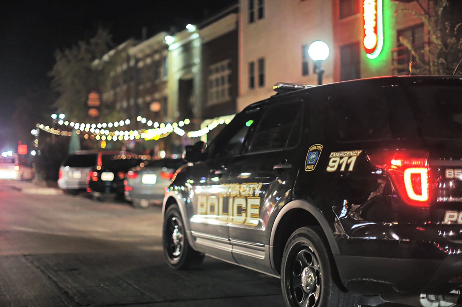 Police patrol the city on homecoming night Friday October 9, 2015.