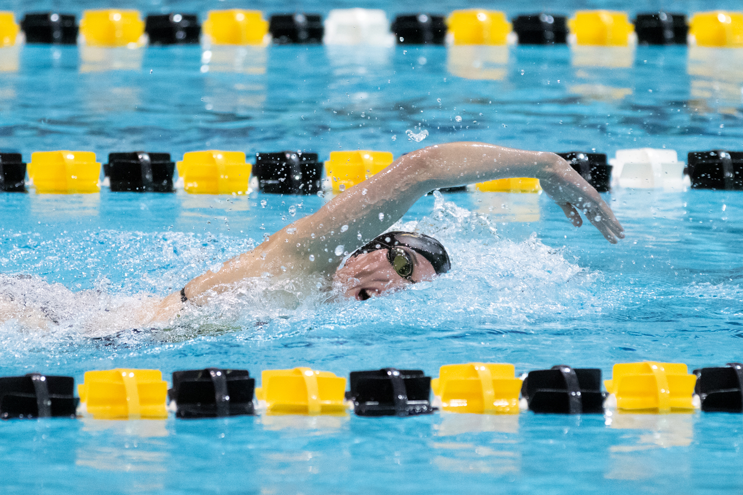 Iowa swimmer Allyssa Fluit swims the 200 freestyle during a swim meet against the University of Northern Iowa and Western Illinois University on Friday, Feb. 1, 2019.