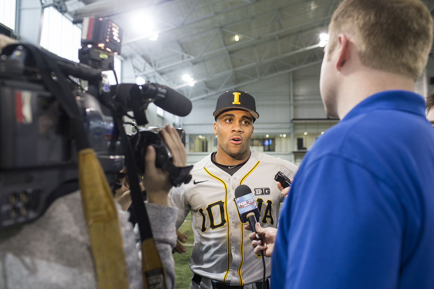 Lorenzo Elion talks to the press for interviews during baseball media day at the Hansen Football Performance Facility on Thursday,   Feb. 5, 2019.
