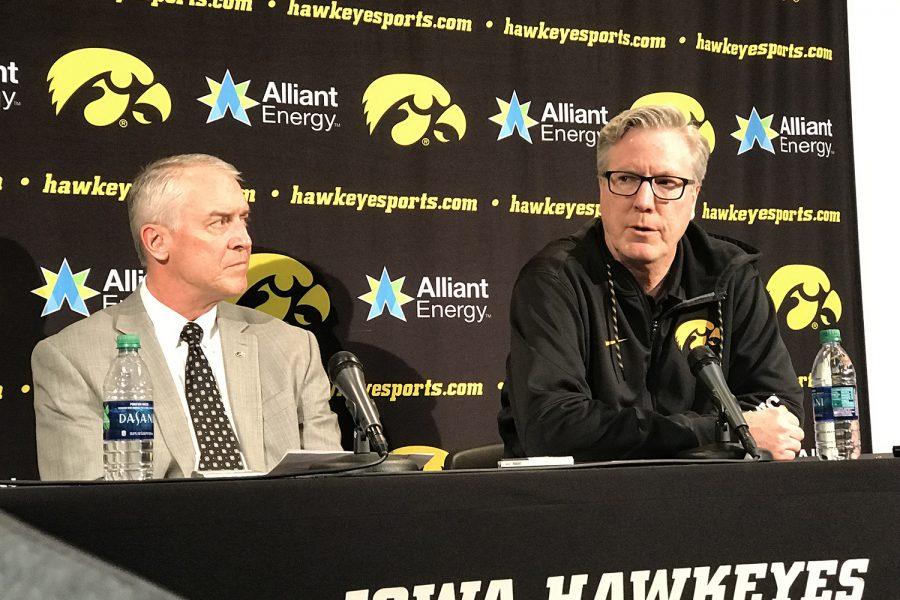 Iowa+Athletics+Director+Gary+Barta+%28left%29+and+Iowa+men%E2%80%99s+basketball+head+coach+Fran+McCaffery+hold+a+press+conference+on+Wednesday.