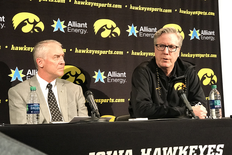 Iowa Athletics Director Gary Barta (left) and Iowa men's basketball head coach Fran McCaffery hold a press conference on Wednesday.