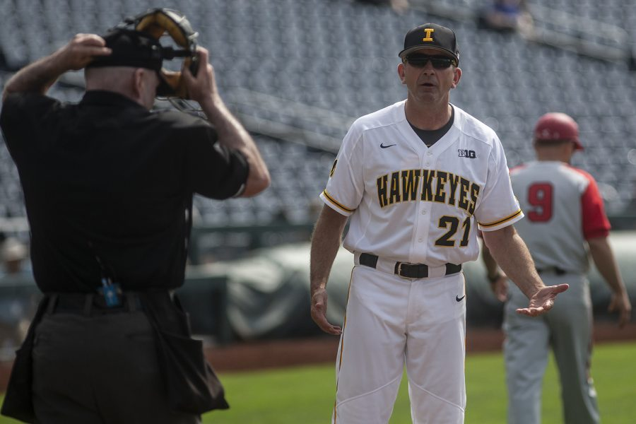Iowa+Head+Coach+Rick+Heller+questions+the+Home+Plate+Umpire+during+Iowa%27s+Big+Ten+tournament+game+against+Ohio+State+on+Thursday%2C+May+24%2C+2018.+The+Buckeyes+defeated+the+Hawkeyes+2-0.+%28Nick+Rohlman%2FThe+Daily+Iowan%29