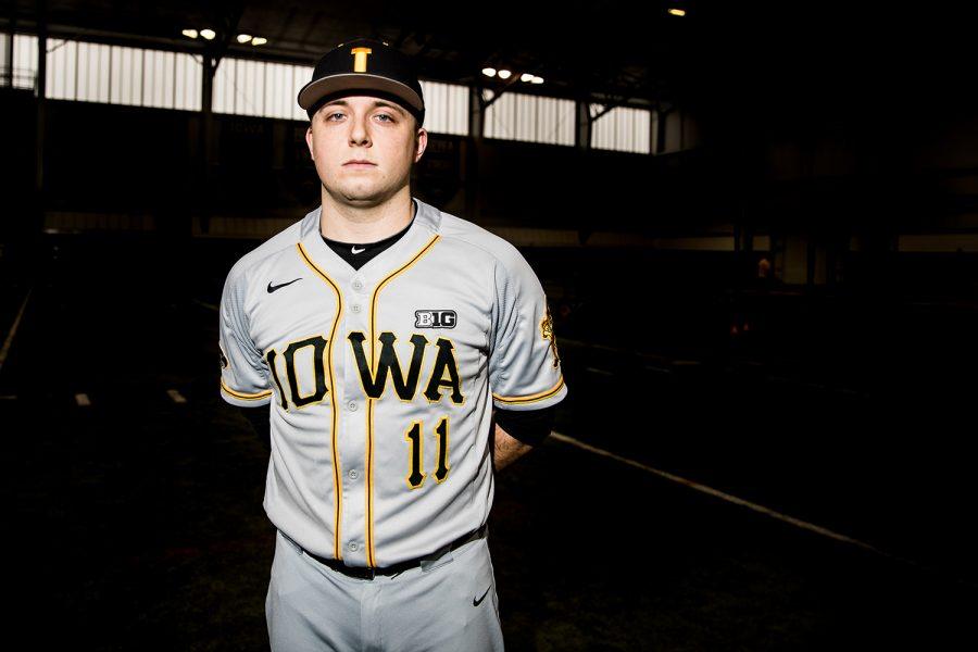 Iowa+Baseball+Cole+Mcdonald+%2311+poses+for+a+portrait+at+the+Iowa+football+practice+facility+on+Febuarary+5%2C+2018.+