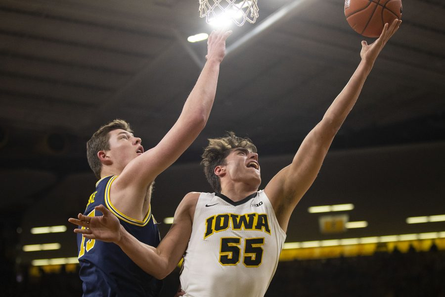 Iowa+forward+Luka+Garza+attempts+a+shot+during+the+Iowa%2FMichigan+men%27s+basketball+game+at+Carver-Hawkeye+Arena+on+Friday%2C+February+1%2C+2019.+The+Hawkeyes+took+down+the+No.+5+ranked+Wolverines%2C+74-59.+