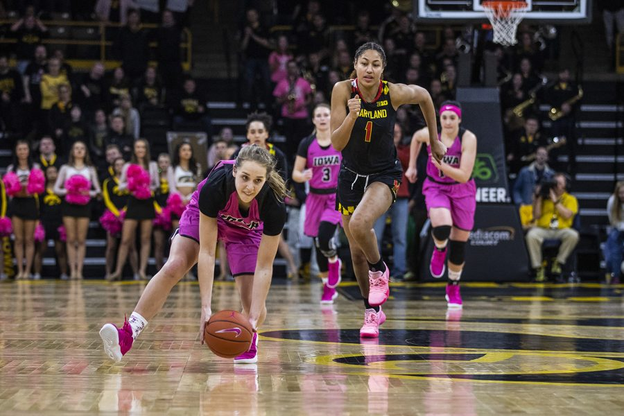 Iowa guard Kathleen Doyle runs to pick up the ball during the women's basketball game vs. Maryland at Carver-Hawkeye Arena on Sunday, February 17, 2019. The Hawkeyes defeated the Terrapins 86-73.