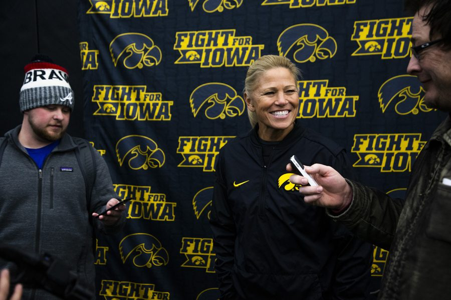 Softball+head+coach+Renee+Gillispie+talks+to+the+media+during+Softball+Media+Day+at+the+Hawkeye+Tennis+and+Recreation+Complex+on+Friday%2C+February+1%2C+2019.+