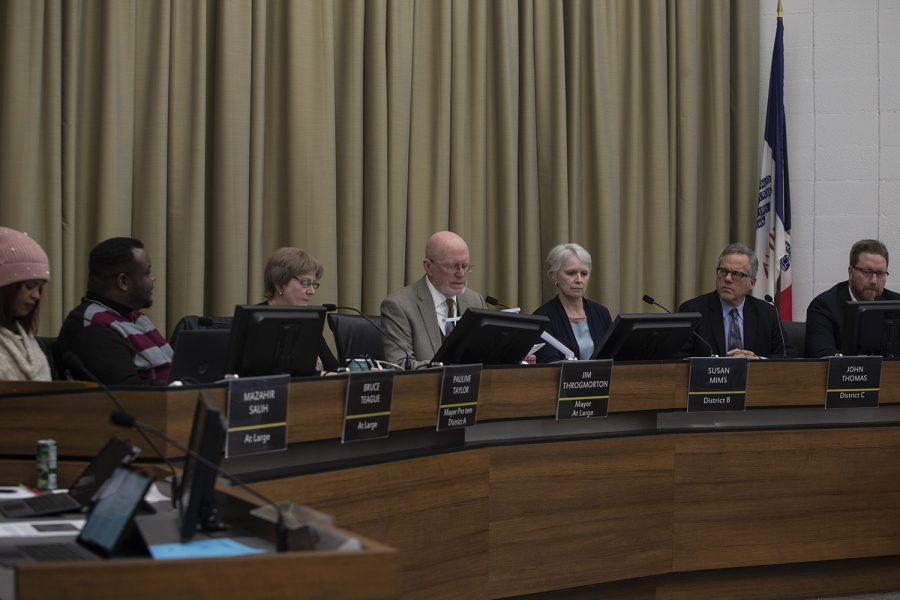 The council deliberates at a meeting of the Iowa City Council on February 19, 2019