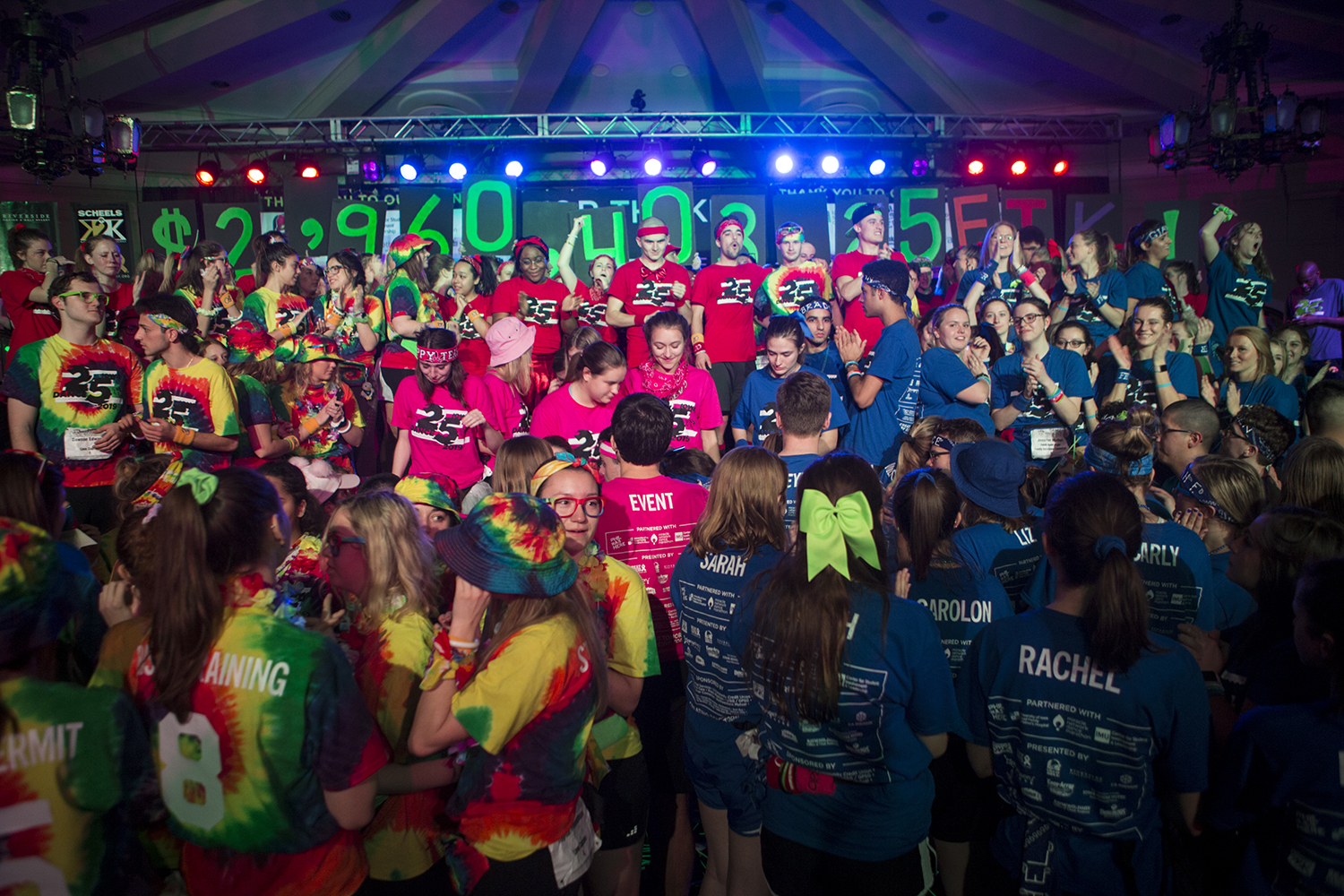 The final fundraising total is revealed during Dance Marathon 25 at the IMU on Feb. 2. The Big Event raised slightly more than $2.96 million. (Alyson Kuennen/The Daily Iowan)