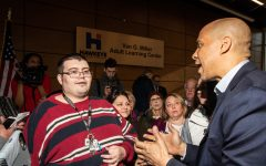 New Jersey Sen. Cory Booker speaks to his audience following a community forum at the Hawkeye Community College Van G. Miller Adult Learning Center in Waterloo, Iowa on Friday, February 8, {yr4.} Senator Booker announced his campaign for President of the United States on February 1, 2019.
