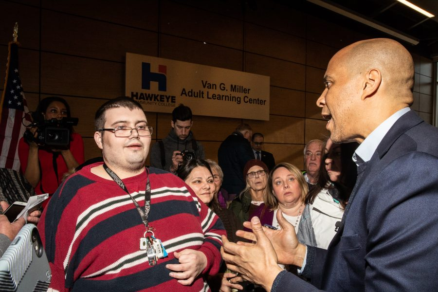 New+Jersey+Sen.+Cory+Booker+speaks+to+his+audience+following+a+community+forum+at+the+Hawkeye+Community+College+Van+G.+Miller+Adult+Learning+Center+in+Waterloo%2C+Iowa+on+Friday%2C+February+8%2C+%7Byr4.%7D+Senator+Booker+announced+his+campaign+for+President+of+the+United+States+on+February+1%2C+2019.+