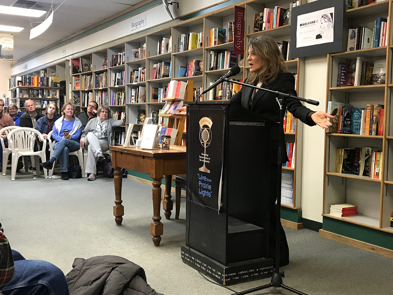 Marianne Williamson, author and 2020 Democratic presidential candidate, makes a campaign stop at Prairie Lights in Iowa City on Saturday.