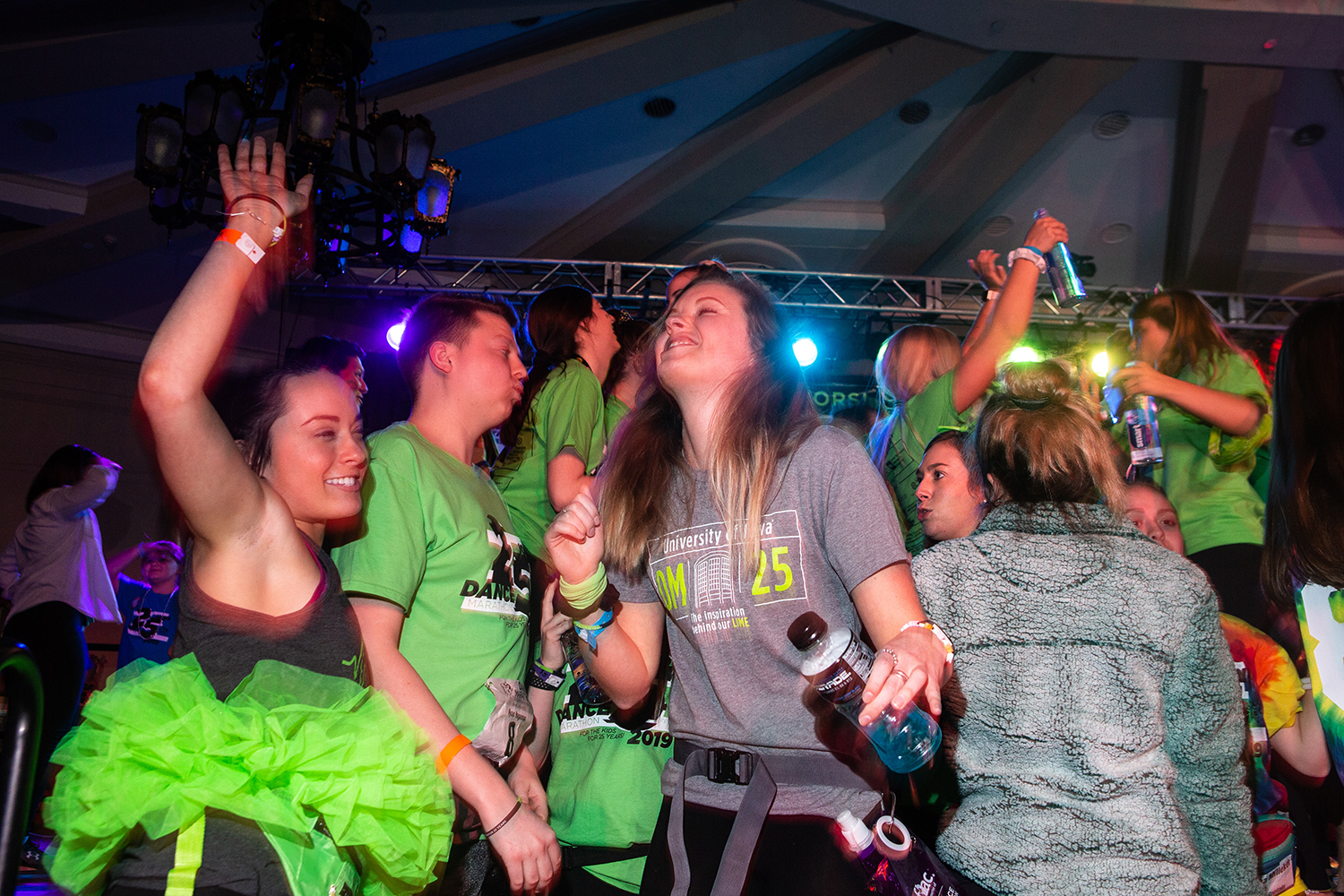 Participants+bust+a+move+during+the+fifth+hour+of+Dance+Marathon+25+at+the+Iowa+Memorial+Union+on+Friday%2C+Feb.+1%2C+2019.