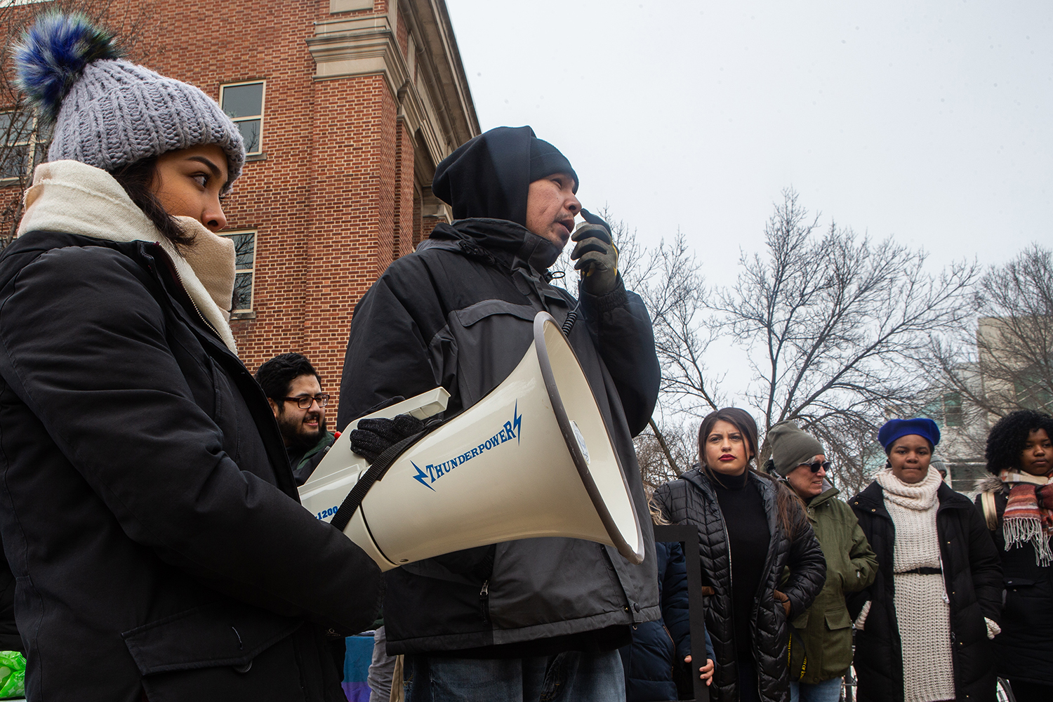 UI Student Dawson Davenport speaks during a rally for the #DoesUIowaLoveMe movement  in the T. Anne Cleary Walkway on Thursday, February 28, 2019. Students, university faculty, and community members gathered to tell their stories about belonging to marginalized cultural groups. Does UIowa Love Me is a collective of students that aims to give underrepresented students an outlet to share their experiences as people of color at a predominantly white institution.