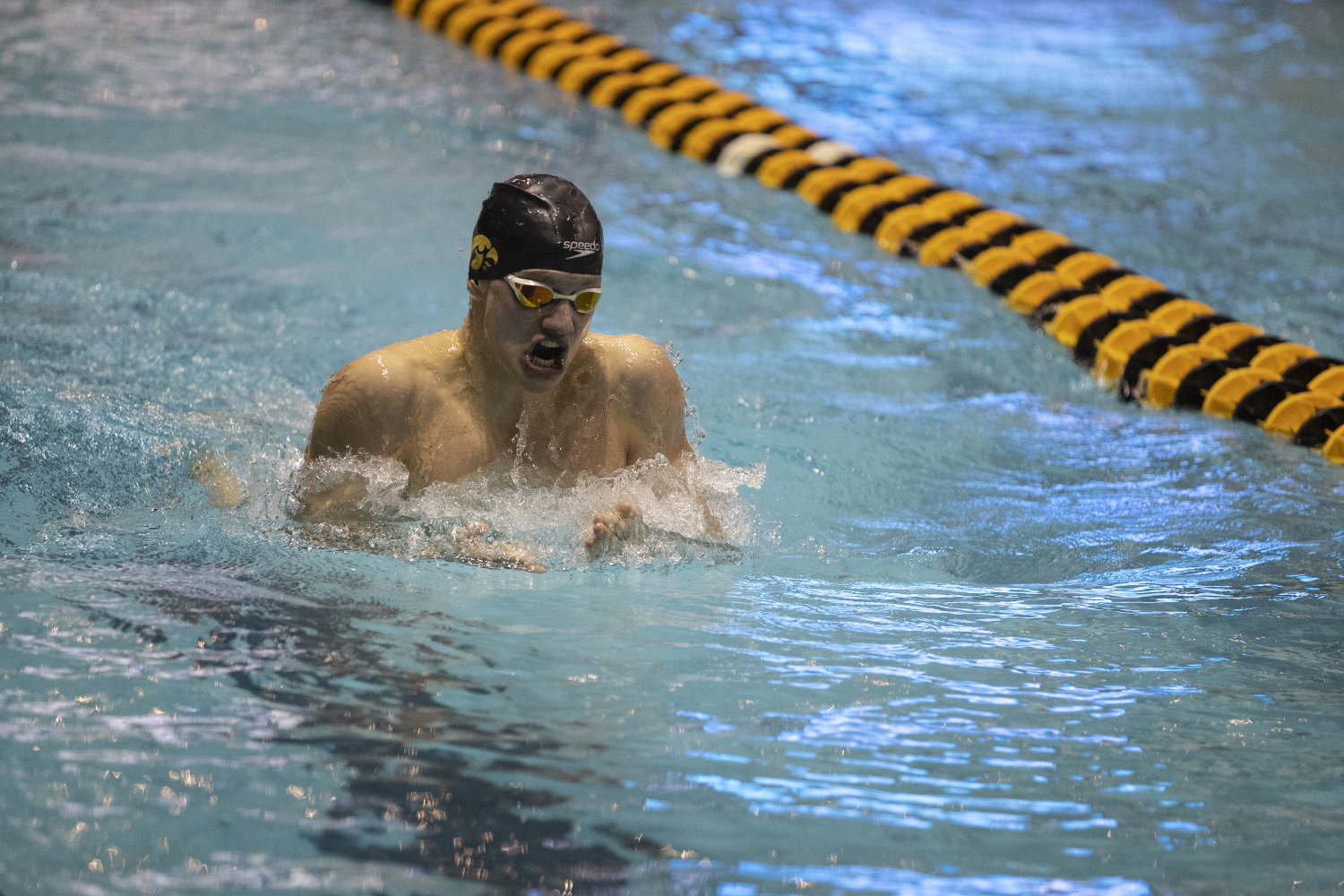 Anze Fers Erzen competes in the Men's 200 Individual Medley bonus final during the second day of the 2019 Big Ten Men's Swimming and Diving Championships at the CRWC on Thursday, February 28, 2019. Fers Erzen placed sixth in the bonus final with a time of 1:46:92. (Katie Goodale/The Daily Iowan)