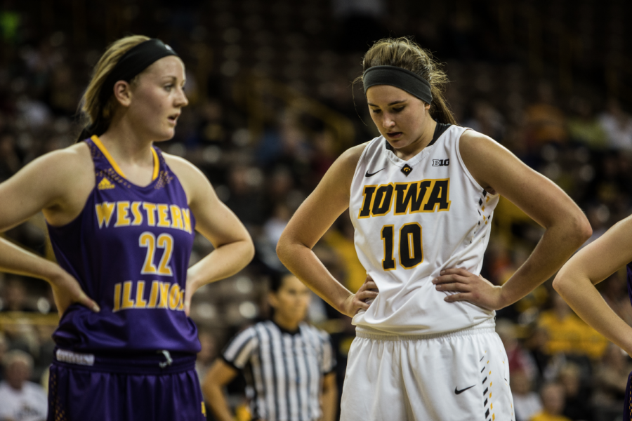 Iowa forward Megan Gustafson takes a breather during a free throw, Iowa defeated Western Illinois in overtime in Carver-Hawkeye Arena on Nov. 19, 2015.
