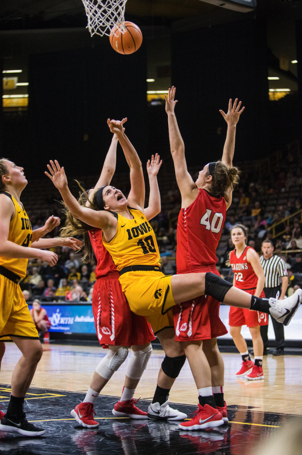 Iowa forward Megan Gustafson (10) drives inside the lane during the women's basketball game between Iowa and Minnesota State at Carver-Hawkeye Arena on Sunday, Nov. 5, 2017. The Hawkeyes beat the Dragons 85-56.
