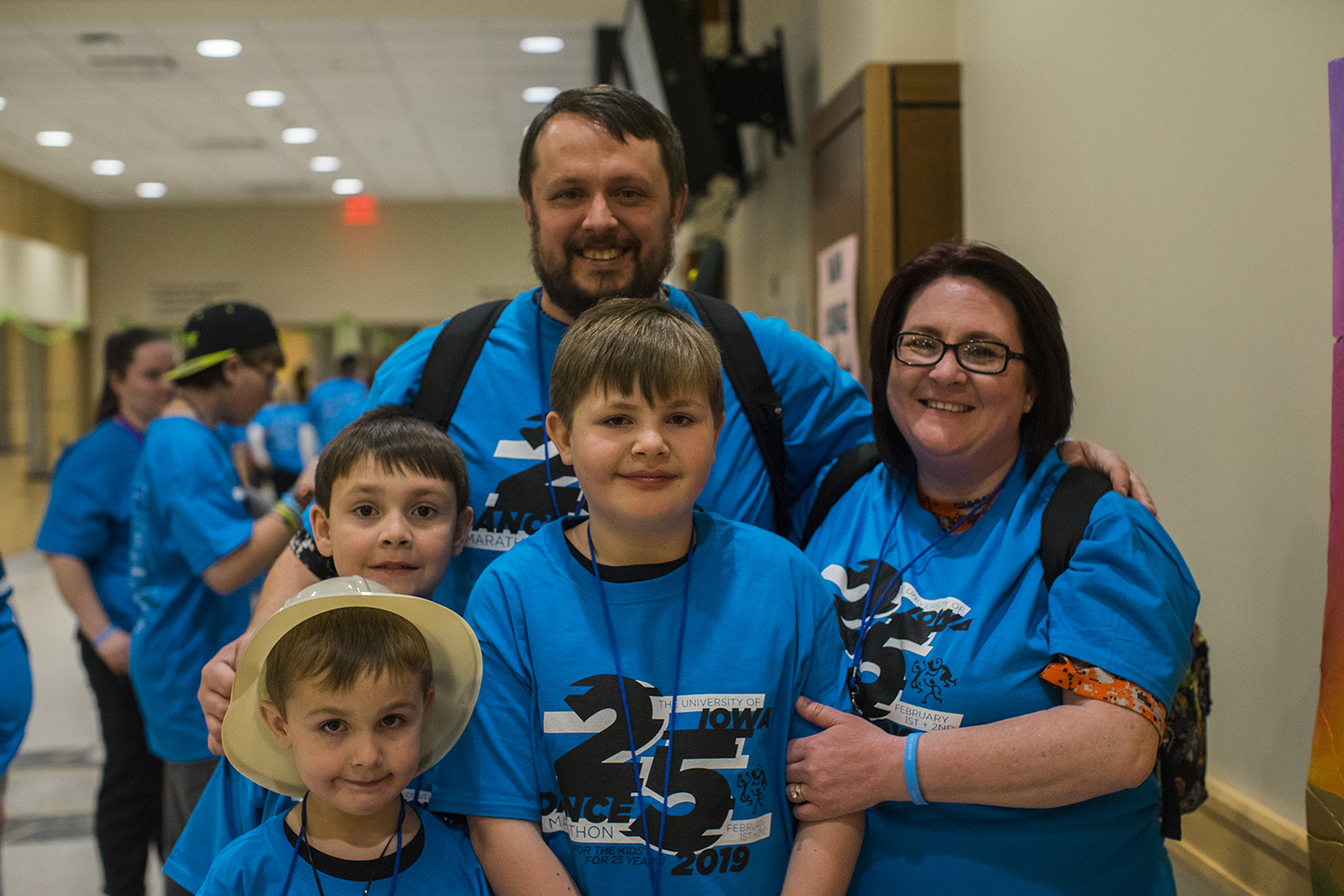 The Lanferman Family is seen after leaving the main ballroom. The family has been to Dance Marathon 2 years previously, and their son was diagnosed with cancer 11 years ago. There name was announced on stage during Dance Marathon 25 at the Iowa Memorial Union on Friday Feb 1, 2019.