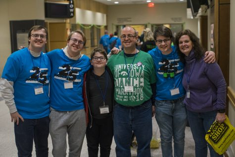 The Horne Family is seen after leaving the main ballroom. This is their eighth year and eighth time being at Dance Marathon. The walked on stage during Dance Marathon 25 at the Iowa Memorial Union on Friday Feb 1, 2019 (Michael Guhin/The Daily Iowan)