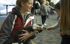 Children feed raisins to a goat during story time at the Iowa City Public Library on Monday, Feb. 11, 2019. This is Nova the goat's first appearance at the library.