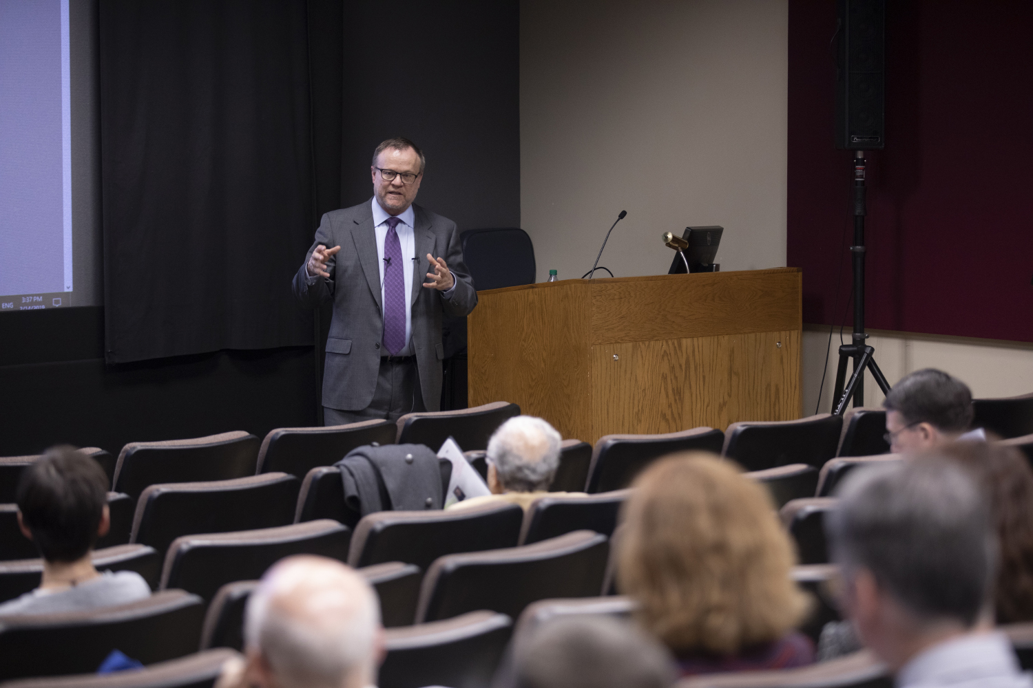 J. Martin Scholtz of the Texas A&M University College of Medicine speaks during the VP for Research candidate forum on Thursday, Feb. 14, 2019. Scholtz is the first candidate in the search.