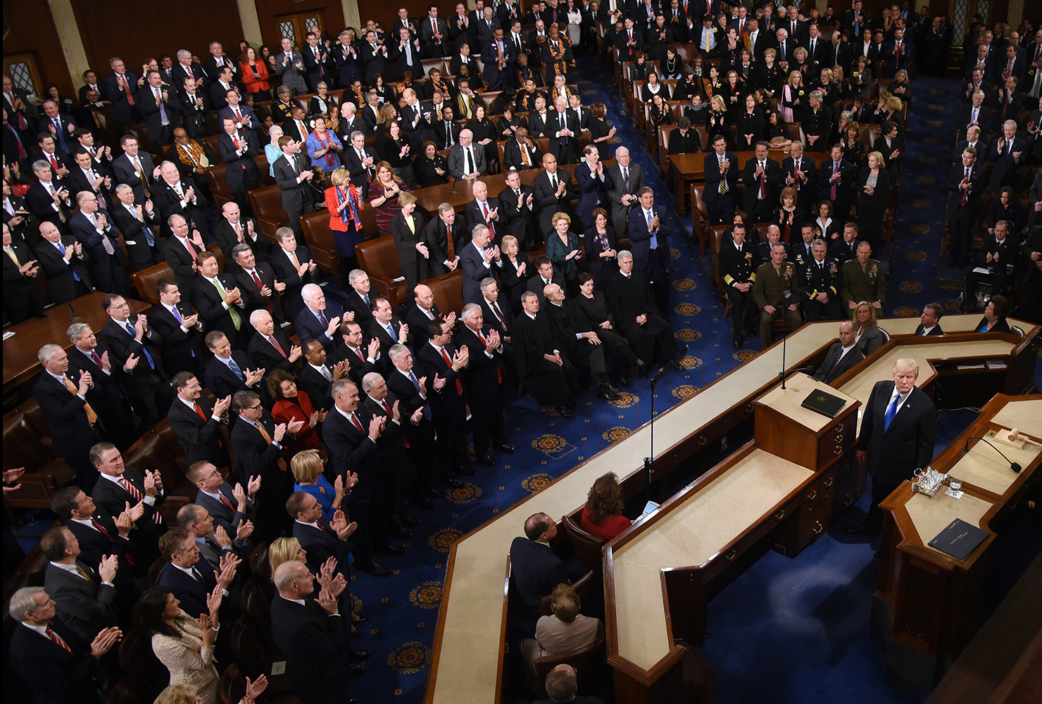 President Donald Trump delivers his first State of the Union address before a joint session of Congress on Capitol Hill in Washington, D.C., on January 30, 2018. (Olivier Douliery/Abaca Press/TNS