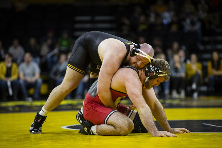 Iowa%27s+%233+Sam+Stoll+wrestles+Rutgers%27+Christian+Colucci++during+the+Iowa%2FRutgers+wrestling+meet+at+Carver-Hawkeye+Arena+on+Friday%2C+January+18%2C+2019.+Stoll+defeated+Colucci%2C+4-0.+The+Hawkeyes+defeated+the+Scarlet+Knights%2C+30-6.+