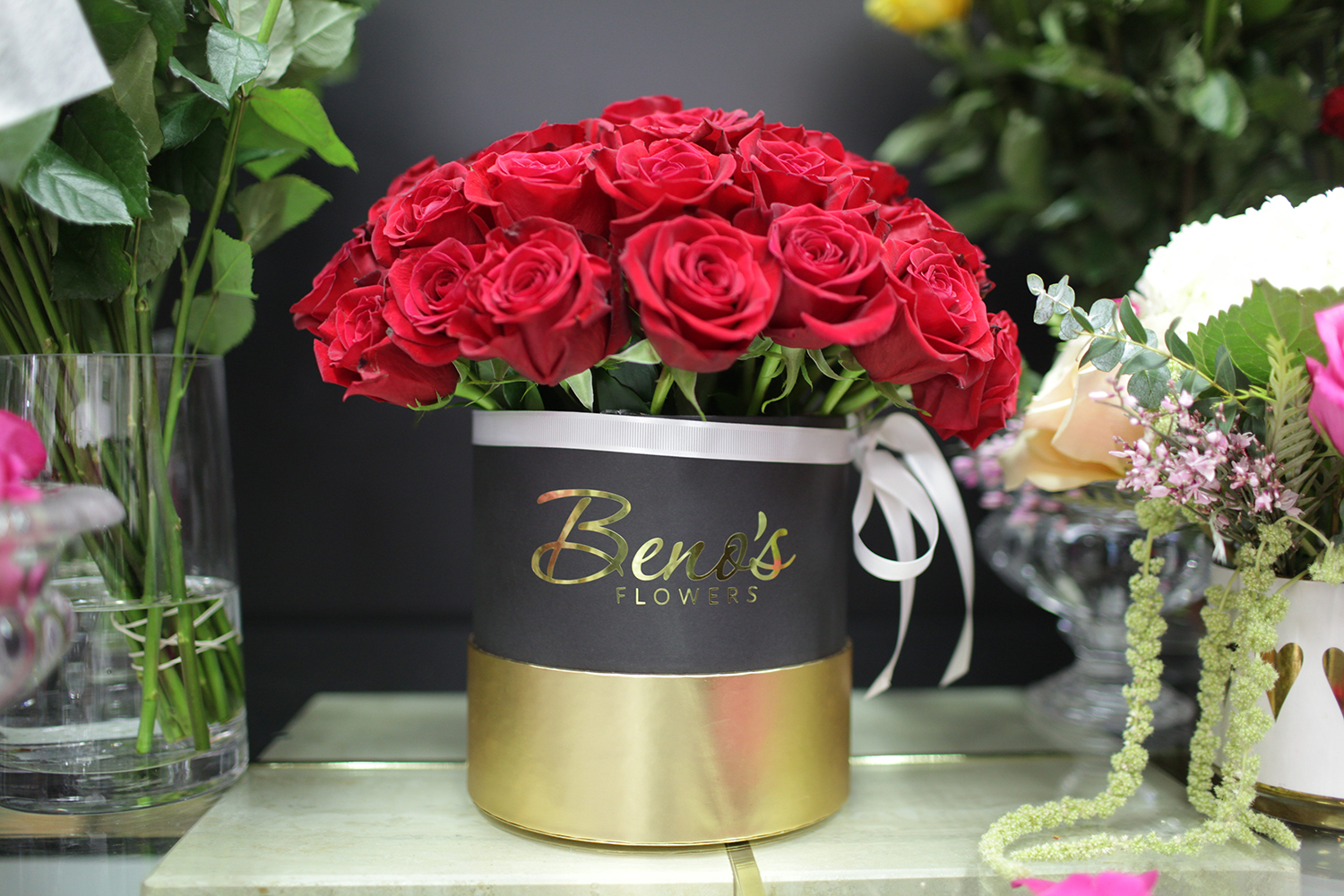 A bouquet of roses is seen at Beno's Flowers and Gifts on February 12, 2019.