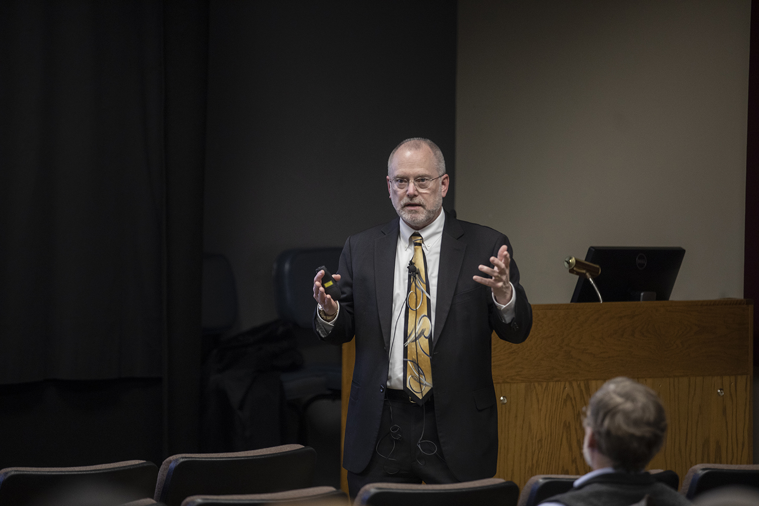 Dean Emeritus and Professor of Medicinal Chemistry and Molecular Pharmacology Craig Svensson speaks at the forum for the Vice President of Research on Thursday, February 21, 2019 at the IMU. Svensson is the third and final candidate for the Vice President position.