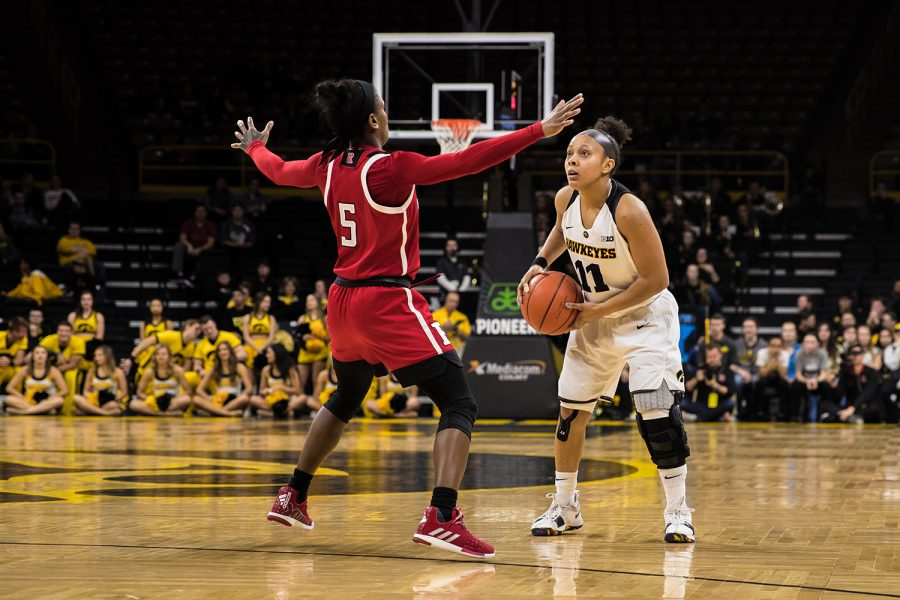 Iowa guard Tania Davis looks to pass during a women's basketball matchup between Iowa and Rutgers at Carver-Hawkeye Arena on Wednesday, January 23, 2019. The Hawkeyes defeated the Scarlet Knights, 72-66.