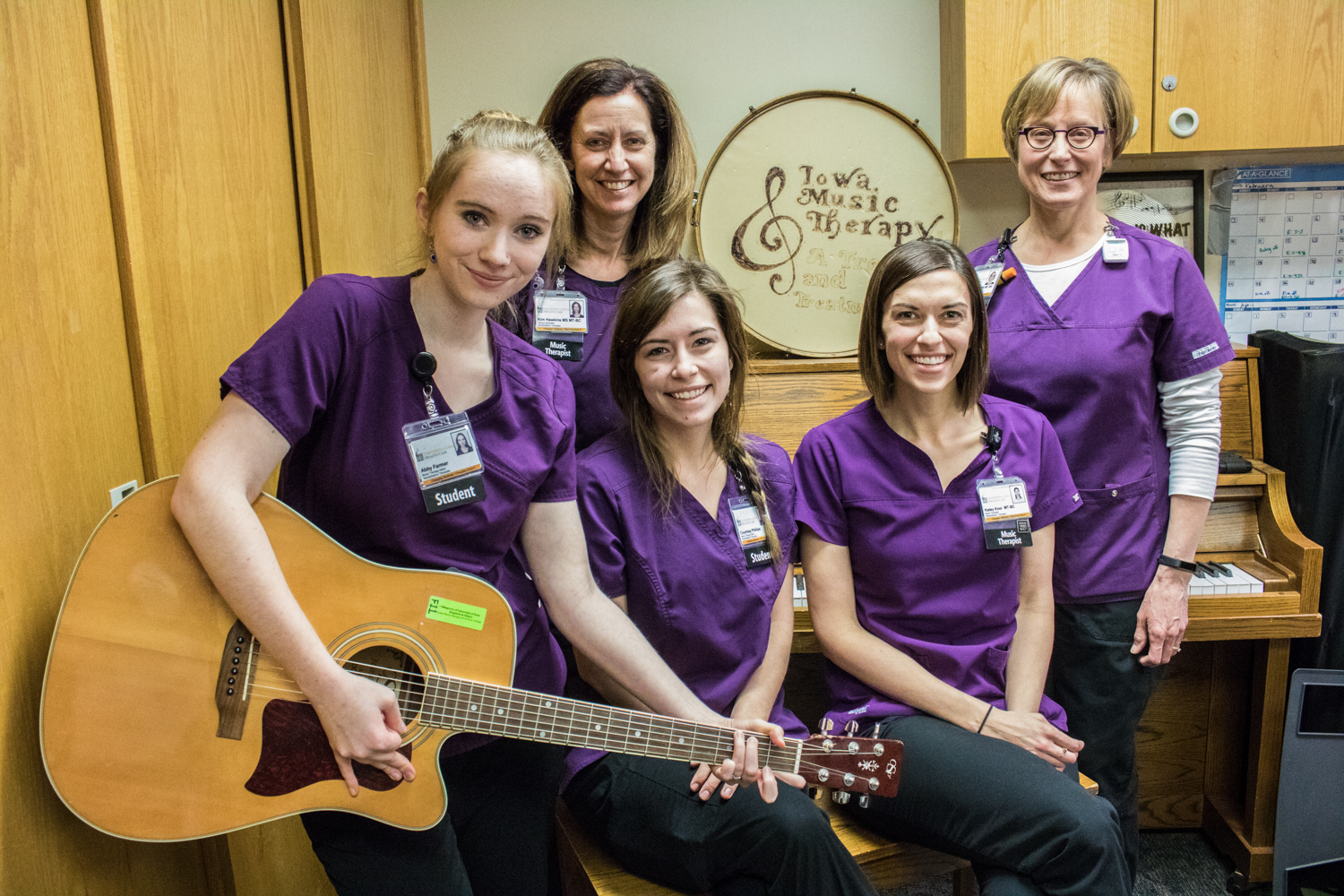 (From left) Student intern Abby Farmer, clinical specialist Kim Hawkins, student intern Courtney Phillips, senior activity therapist Katey Kooi, and pediatric specialist Kirsten Nelson pose for a portrait at the University of Iowa Hospitals and Clinics on Wednesday, February 27, 2019.