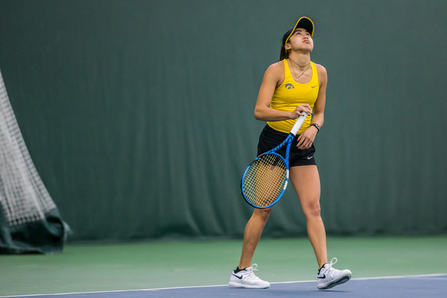 Iowa%27s+Michelle+Bacalla+reacts+during+a+women%27s+tennis+matchup+between+Iowa+and+Iowa+State+at+the+Hawkeye+Tennis+and+Recreation+Complex+on+Friday%2C+February+8%2C+2019.++The+Hawkeyes+dropped+the+doubles+point+but+swept+singles+matches%2C+defeating+the+Cyclones+4-1.