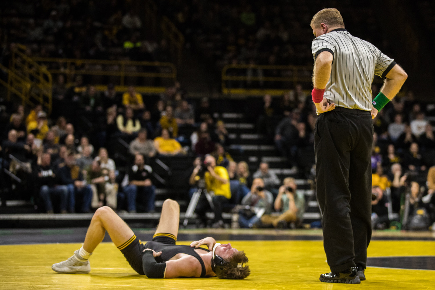 Iowa%27s+No.+14+Max+Murin+wrestles+Indiana%27s+Kyle+Luigs+at+141lb+during+a+wrestling+match+between+Iowa+and+Indiana+at+Carver-Hawkeye+Arena+on+Friday%2C+February+15%2C+2019.+The+Hawkeyes%2C+celebrating+senior+night%2C+defeated+the+Hoosiers+37-9.