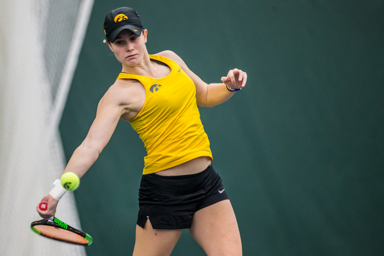 Iowa%27s+Elise+Van+Heuvelen+Treadwell+hits+a+forehand+during+a+women%27s+tennis+matchup+between+Iowa+and+Iowa+State+at+the+Hawkeye+Tennis+and+Recreation+Complex+on+Friday%2C+February+8%2C+2019.++The+Hawkeyes+dropped+the+doubles+point+but+swept+singles+matches%2C+defeating+the+Cyclones+4-1.