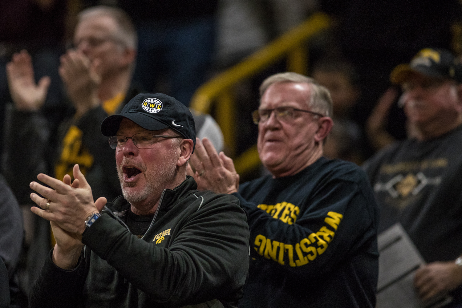 Fans+cheer+during+a+wrestling+match+between+Iowa+and+Indiana+at+Carver-Hawkeye+Arena+on+Friday%2C+February+15%2C+2019.+The+Hawkeyes%2C+celebrating+senior+night%2C+defeated+the+Hoosiers+37-9.