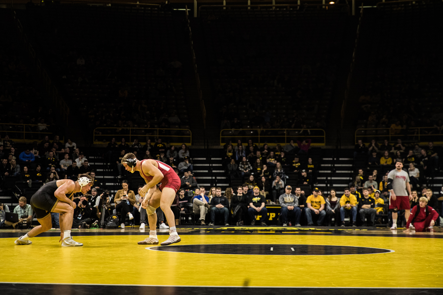 Iowa%27s+No.+11+Cash+Wilcke+wrestles+Indiana%27s+Norman+Conley+at+184lb+during+a+wrestling+match+between+Iowa+and+Indiana+at+Carver-Hawkeye+Arena+on+Friday%2C+February+15%2C+2019.+The+Hawkeyes%2C+celebrating+senior+night%2C+defeated+the+Hoosiers+37-9.