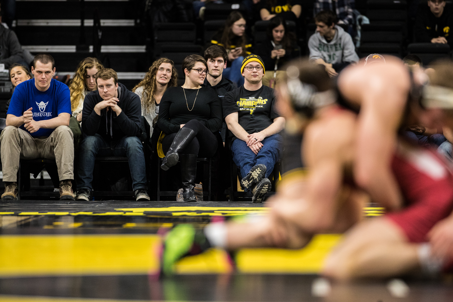 Iowa%27s+No.+4+Jacob+Warner+wrestles+Indiana%27s+Jake+Kleimola+at+197lb+during+a+wrestling+match+between+Iowa+and+Indiana+at+Carver-Hawkeye+Arena+on+Friday%2C+February+15%2C+2019.+The+Hawkeyes%2C+celebrating+senior+night%2C+defeated+the+Hoosiers+37-9.