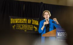 Sen. Elizabeth Warren (D-Mass.) speaks during a campaign rally in the IMU on Sunday, February 10, 2019.