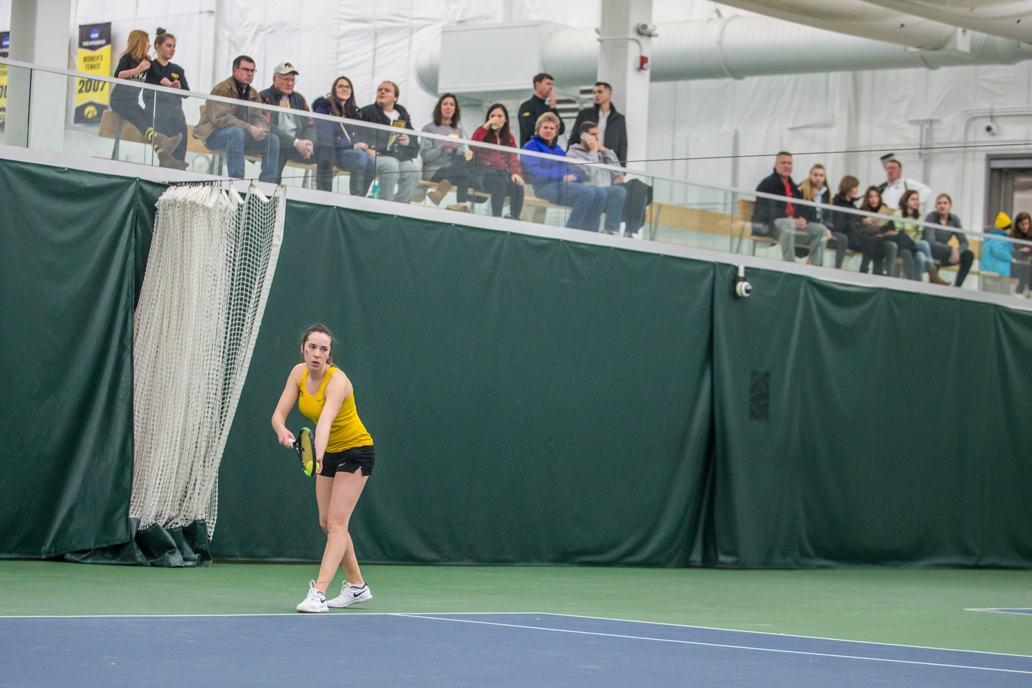 Iowa%27s+Samantha+Mannix+prepares+to+serve+during+a+women%27s+tennis+matchup+between+Iowa+and+Iowa+State+at+the+Hawkeye+Tennis+and+Recreation+Complex+on+Friday%2C+February+8%2C+2019.++The+Hawkeyes+dropped+the+doubles+point+but+swept+singles+matches%2C+defeating+the+Cyclones+4-1.